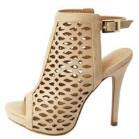 Laser Cut-Out Peep Toe Heels by Charlotte Russe - Nude
