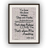 Peter pan quotes printable quote, black and white, vintage, newspaper art, wall  quote, motivational, inspirational, Walt Disney Movie decor