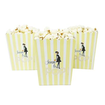 Soon To Pop Yellow Baby Shower Popcorn Favor Box-Set of 20