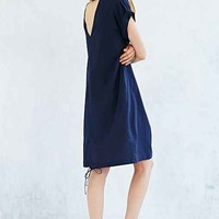 Silence + Noise Tie-Bottom Midi Tee Dress- Navy