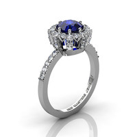 Classic Bridal 14K White Gold 1.0 Ct Blue Sapphire Diamond Solitaire Ring R408-14KWGDBS