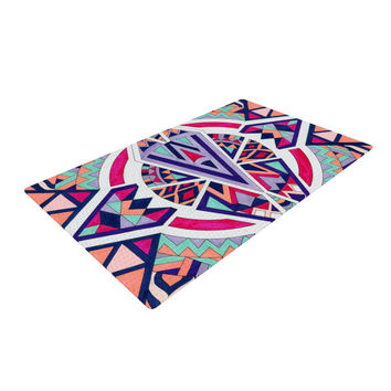 "Pom Graphic Design ""Abstract Journey"" Circular Tribal Woven Area Rug"