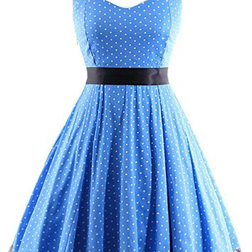 Atomic Blue Polka Dot Halter Swing Dress