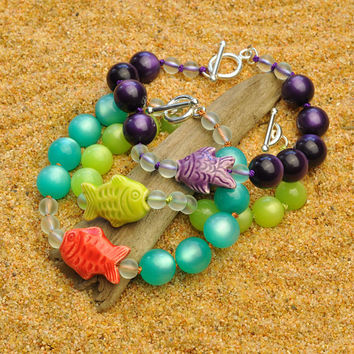 Colorful Lightweight Lime Green Tropical Bracelet with Hand Painted Peruvian Fish and Bubbles