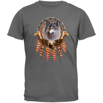 Lethal Threat - Eagle Wolf Dream Catcher Steel Gray T-Shirt