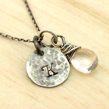 Rustic Initial Necklace - Hand Stamped Monogrammed Necklace - Gemstone Birthstone - Antiqued Sterling Silver - Personalized Jewelry - Bridal