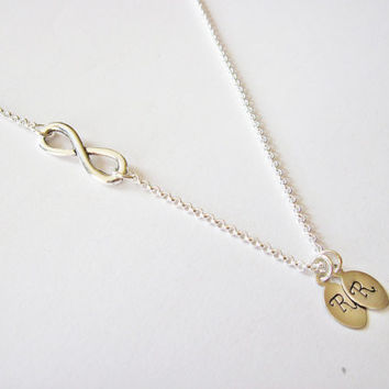 Infinity necklace with initial charm, Sideways infinity, Initial necklace, Friendship, Personalized initial, Everyday jewelry, 1 2 3 4 5 6 7