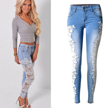 Lace Patchwork Hollow Low Waist Straight Hot Jeans