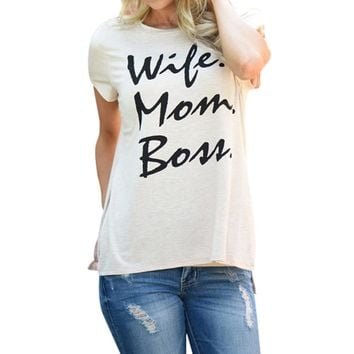 'Wife. Mom. Boss.' Pullover Print Top