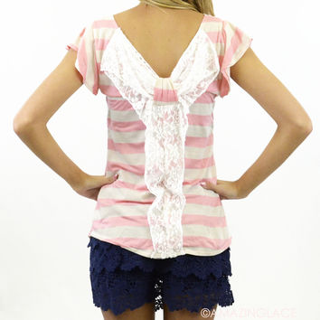 Lacey Grace Striped Bow Top Pink