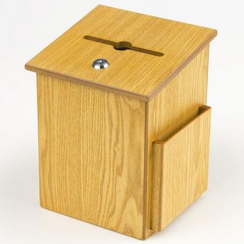"7.4"" x 9.9"" x 6.5"" Wooden Ballot Box w/ Side Pocket, Pen Lock, Wall or Countertop - Oak 19246"