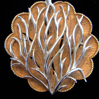 CORO Tree Branch 2-Part Brooch, 3D Silver-Gold Tone Scalloped Vintage