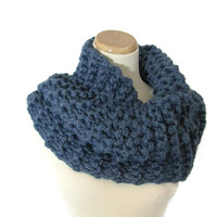 Outlander Inspired Cowl,  Chunky Cowl, Knit Scarf, Hand Knit Cowl, Denim Blue, Circle Scarf, Winter, Women, Fiber Art