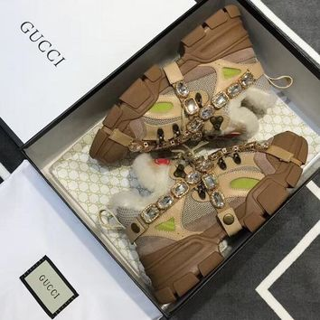 GUCCI Flashtrek wool sneaker with crystals Brown black white-2