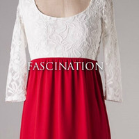 Crimson and White Baby Doll Dress