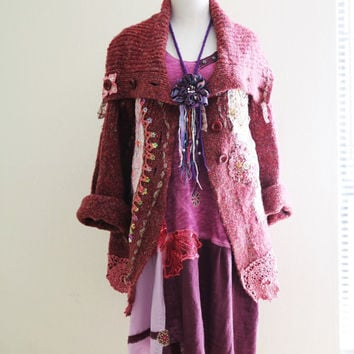 M Bohemian cardigan Autumn shabby chic romantic altered couture upcycled clothing knit vintage crochet embroidered beaded details mori girl