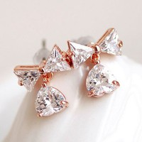 Dangling Bow and Heart Full Rhinestone Earrings
