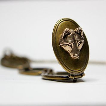 Bronze Wolf Pup Face Double Brass Locket Necklace
