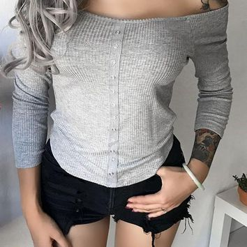 Grey Buttons Boat Neck Long Sleeve Fashion T-Shirt