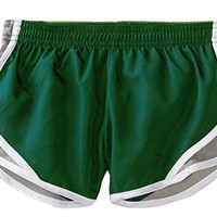 Soffe Big Girls' Team Shorty Short,Small,Dk Green/Silver