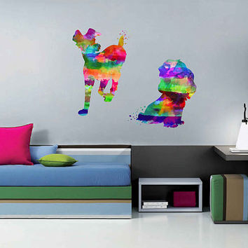 kcik2142 Full Color Wall decal Watercolor Character Disney Lady and the Tramp children's room Sticker Disney