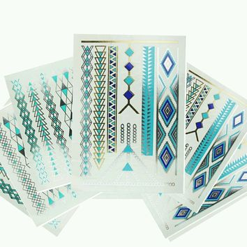 Turquoise / Blue Metallic Temporary Tattoo (Set 6 Sheets) Gold and Silver