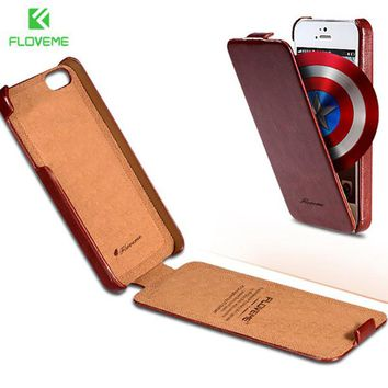 FLOVEME Brand Logo for iphone5 Retro Luxury Flip Crazy Horse Leather Case For apple iphone 5S 5G Vintage Phone Accessories Cover