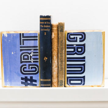 Memphis Grizzlies Basketball saying Grit Grind blue wood art bookends