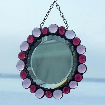 Beveled Mirror Round Purple and Lilac Stained Glass