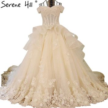 Luxury Long Train Wedding Dress Beading Pearls Long Wedding gown Princess Bride Dress