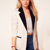 Collar Long Sleeve Blazer with Pocket