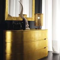 Stockist Presotto Globo 3 drawer chest silver leaf chest of drawers Gold leaf bedroom furniture | Robinsons Beds