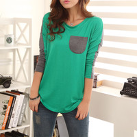 Color Block Ladylike Style Pocket Splicing Bat-Wing Sleeves T-shirt For Women