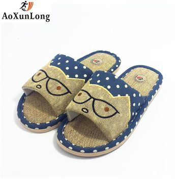 Men's Cat with Glasses Cotton Indoor  Slippers 2 Colors
