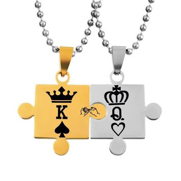Cool Classic Stainless Steel Lovers Couple Pendants Necklace Women Gold Silver Jewelry King Queen Crown Stitching Pendants NecklaceAT_93_12