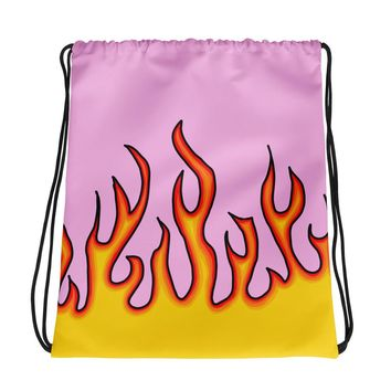 Pink Flame Checkerboard Drawstring Bag