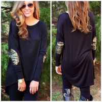 Lights Camera Action Black Sequin Elbow Patch Top