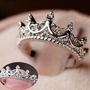 Fashion Princess Silver Rhinestone Crown Wedding Ring