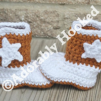 Longhorn Baby Boots, Crochet Baby Booties, Cowboy Boots, Infant Sizes, Newborn to 12 Months, Made to Order