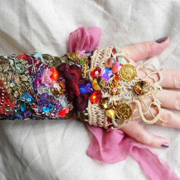 Gypsy spring, fairy cuff, gypsy cuff, textile cuff, fairy punk, tatter punk,bracelet cuff, lace up,women, beaded cuff, flowers and silk,love