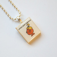 Little Miss Curious Scrabble Pendant on 18 inch silver ball chain