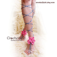 EXOTIC Flower, Beaded Crochet LACE UP Barefoot Sandals, knee high, gladiator boots, long, beach, pool, leggings, wedding, gypsy