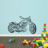 rvz1788 Wall Vinyl Sticker Bedroom Decal Chopper Detailed Moto Motorcycle