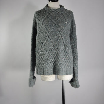 80s oversize cable knit angora sweater / vintage 1980s celadon green slouchy sweater / Green Diamonds jumper