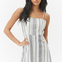 Multicolor Striped Linen-Blend Button-Front Mini Dress