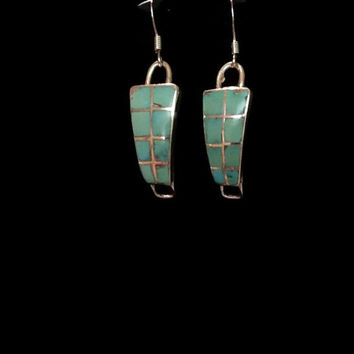 Sterling Silver Zuni Turquoise Inlay Earrings, Zuni Southwestern Watch Band Repurposed