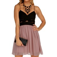 Promo-elly-black/blush Short Prom Dress