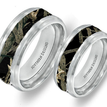 Black Camouflage On Silver Tungsten Couples Band Rings