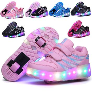Colorful LED Flashing Double Roller Skate Shoes Flashing LED Roller Shoes Roller Skates Luminous Sneakers Women Light Up Shoes