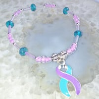 "Domestic Violence and Sexual Assault Bracelet (348)   6"", Cancer Awareness Collection, Unique Visions by Jen"